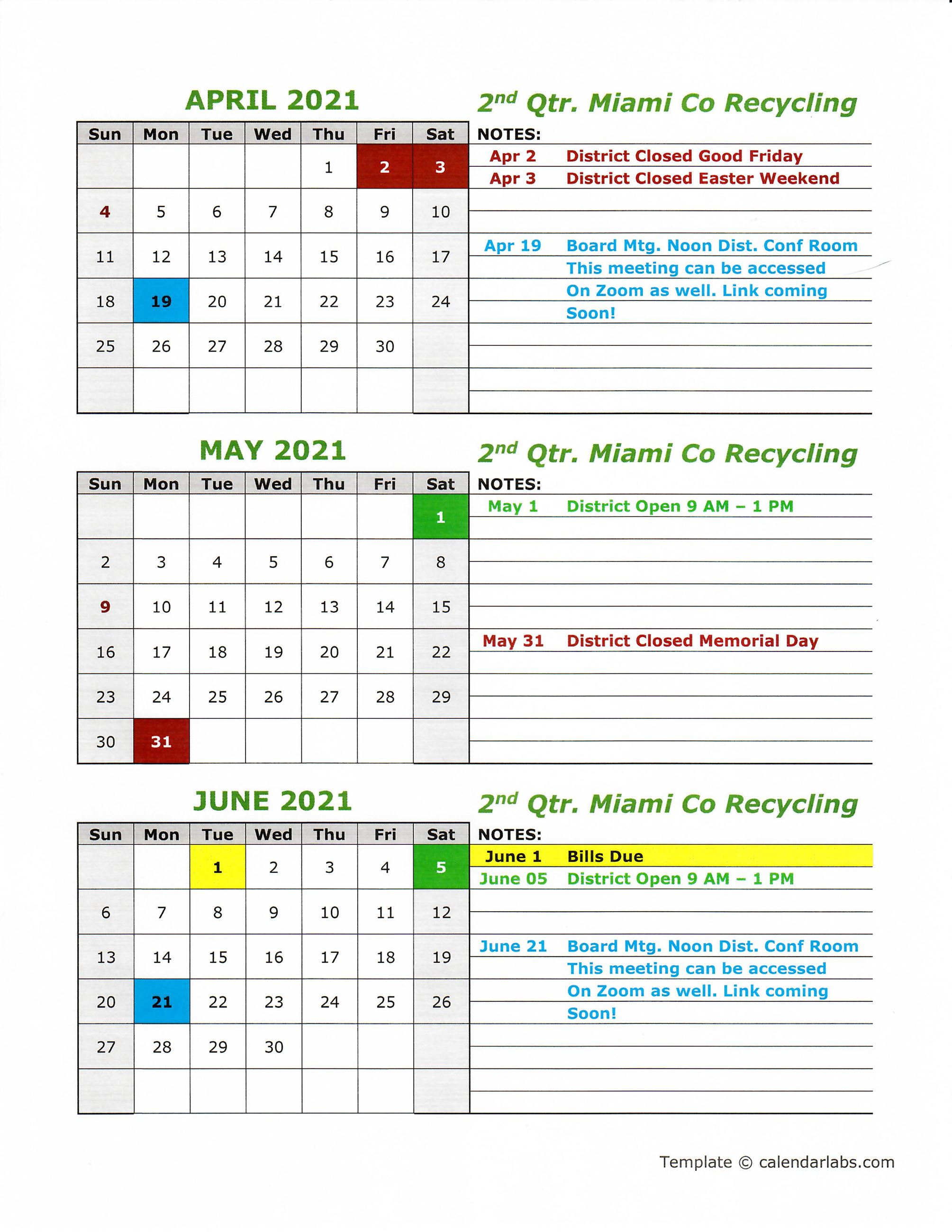 Updated 2021 Calendar 2nd qtr