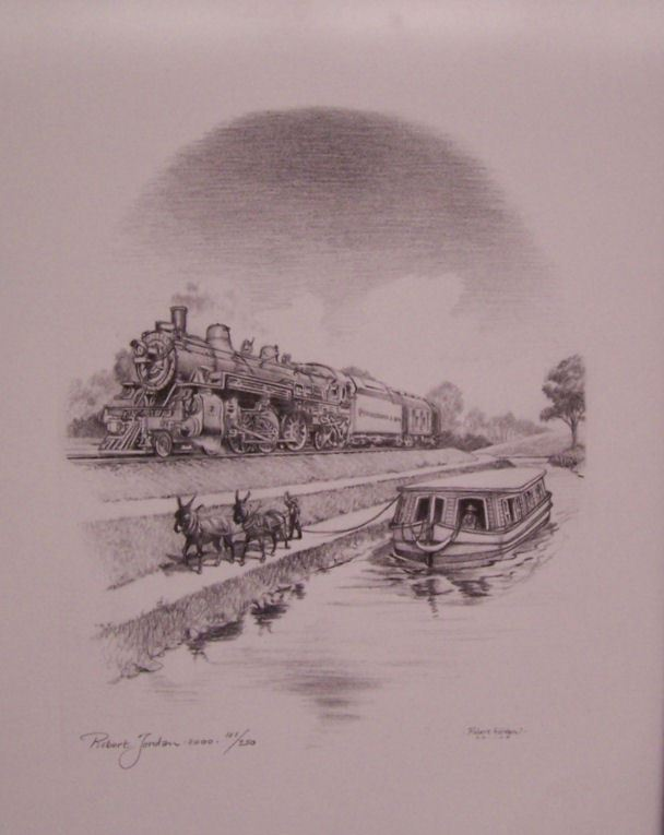 Drawing of Train Next to River